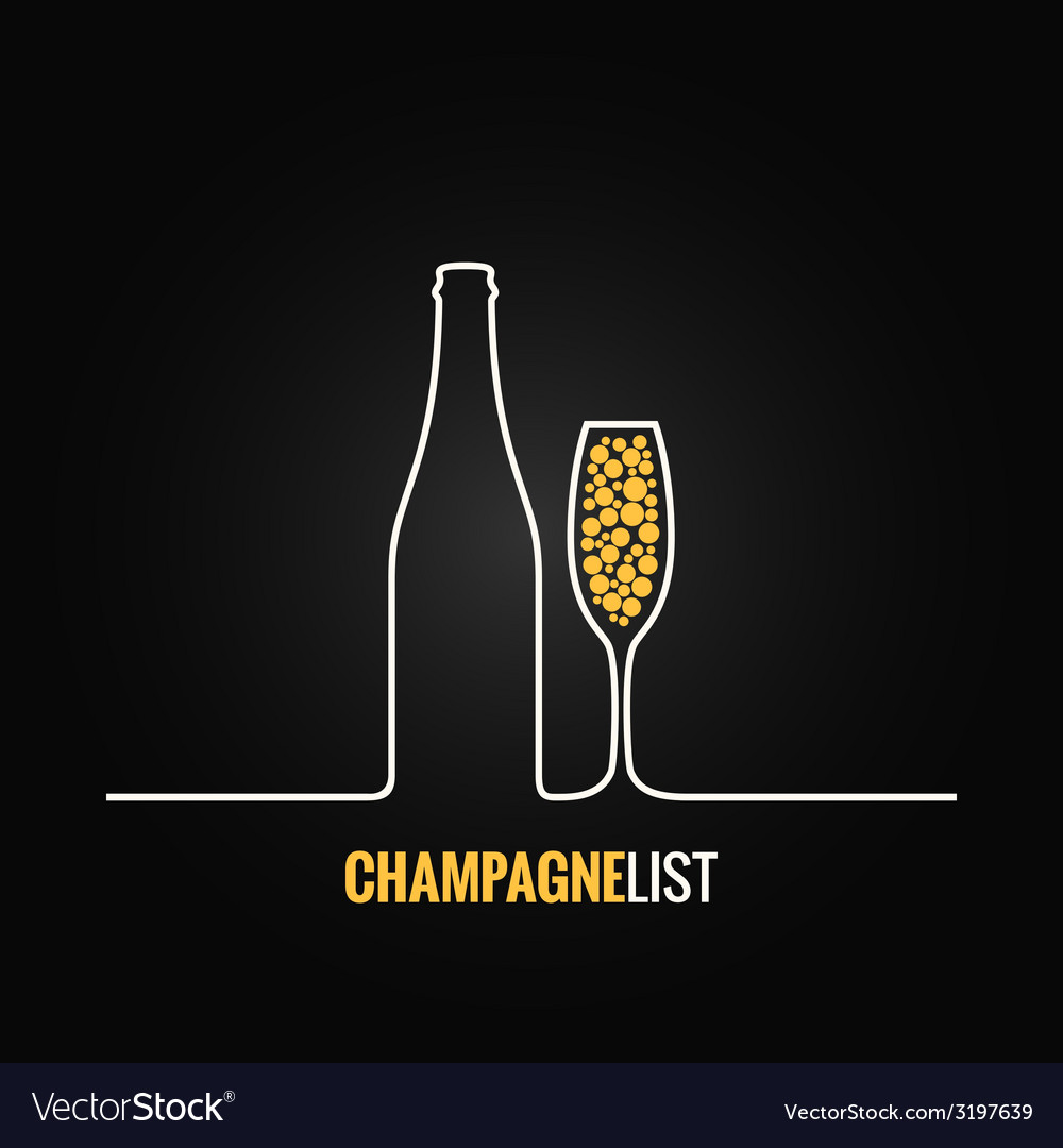 Champagne glass bottle menu background vector