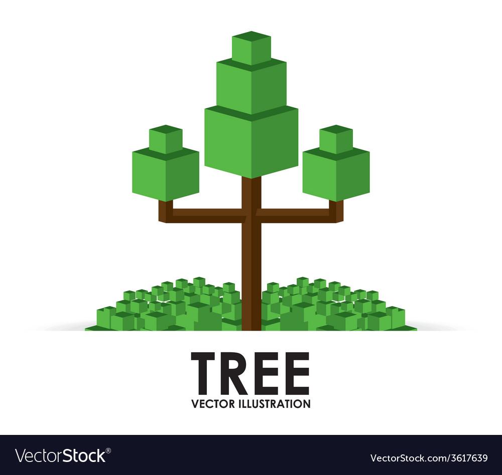 Pixel tree design vector
