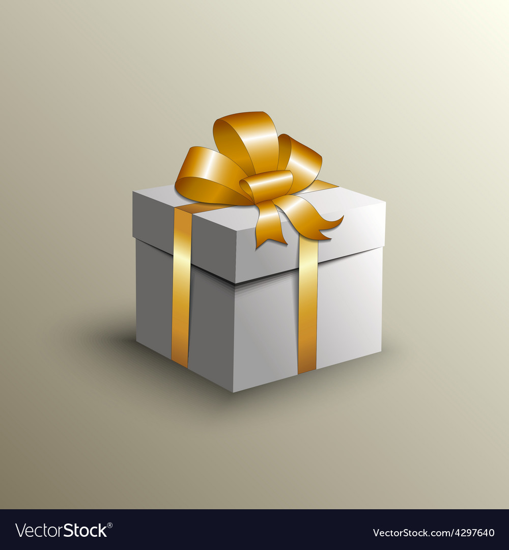 Abstract gift box with golden ribbon vector