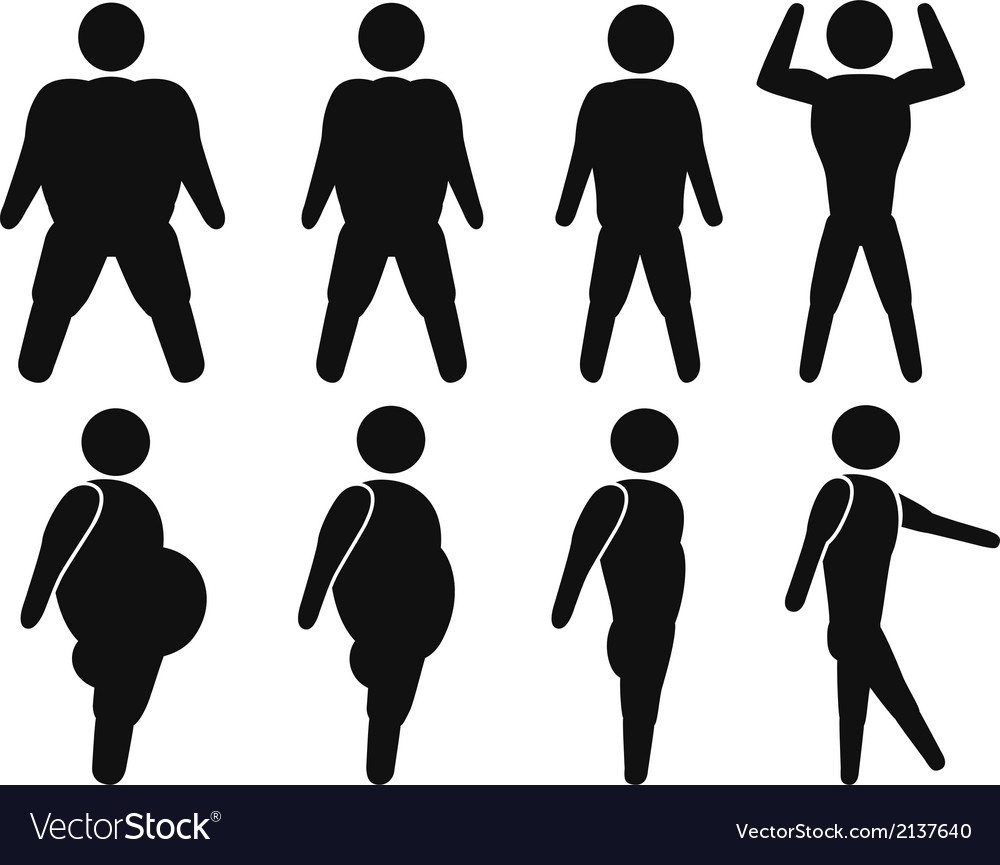 Man from fat to fit vector