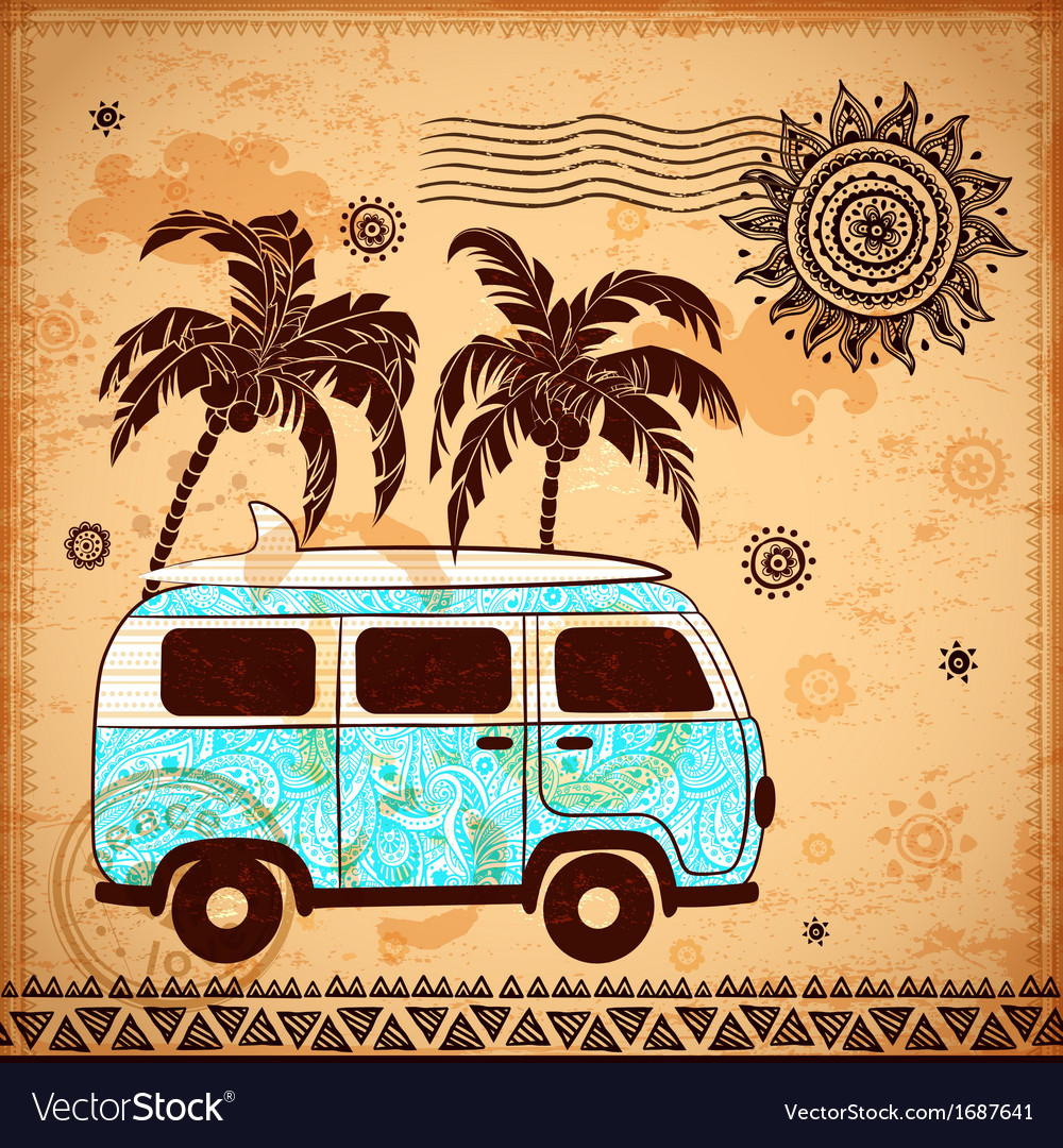 Retro travel bus with vintage background vector