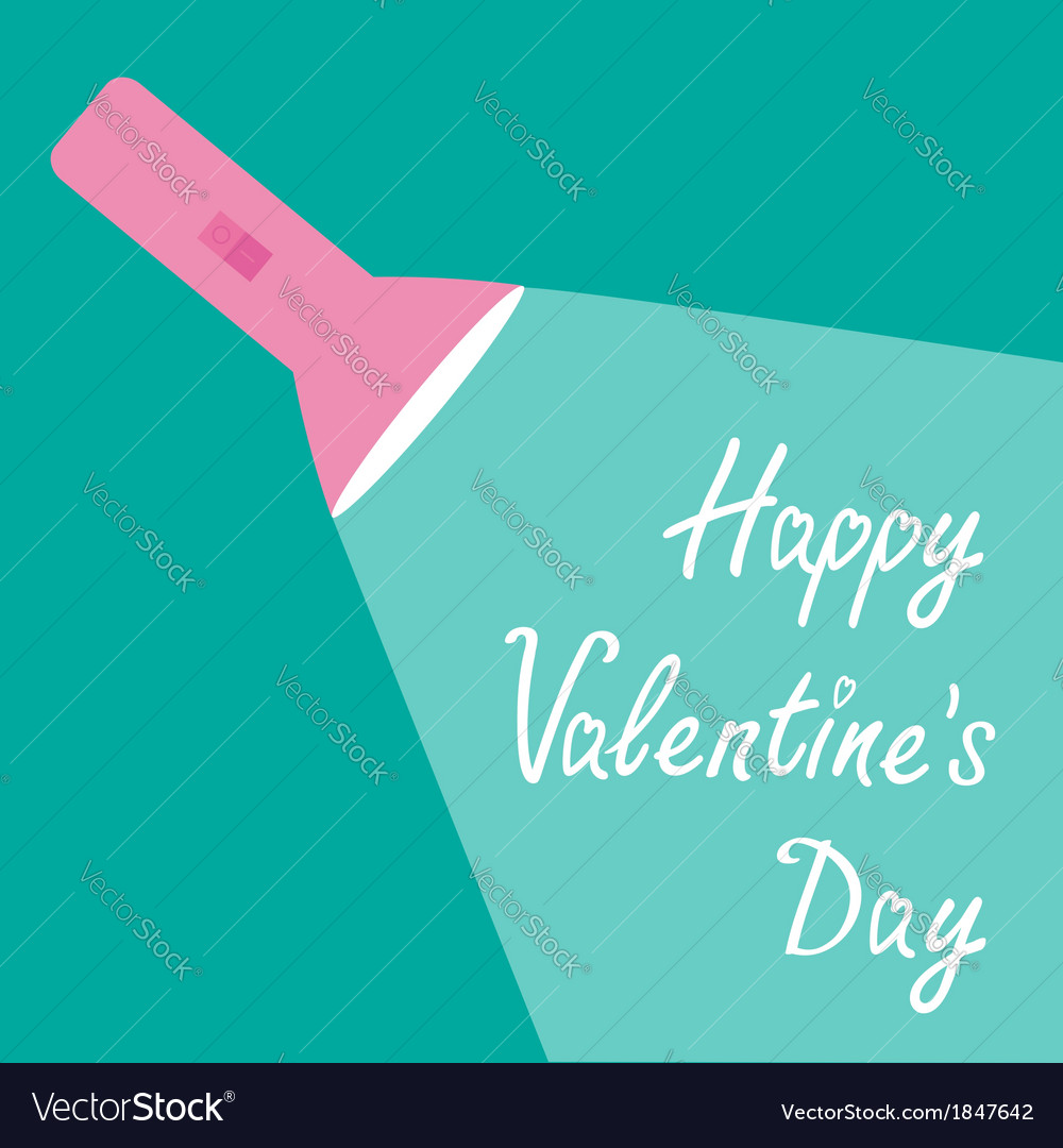 Pink flashlight and ray of light valentines day vector