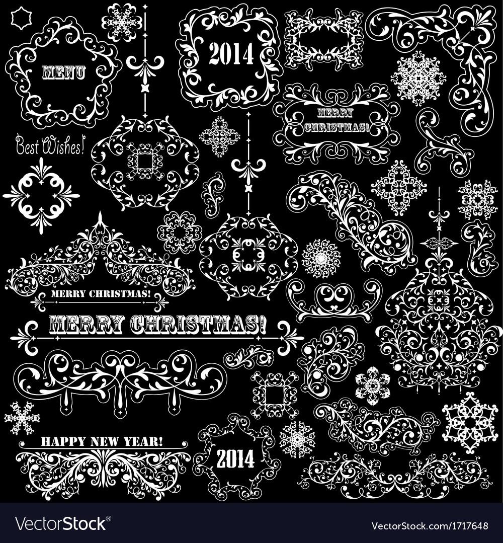 Vintage holiday floral design elements vector