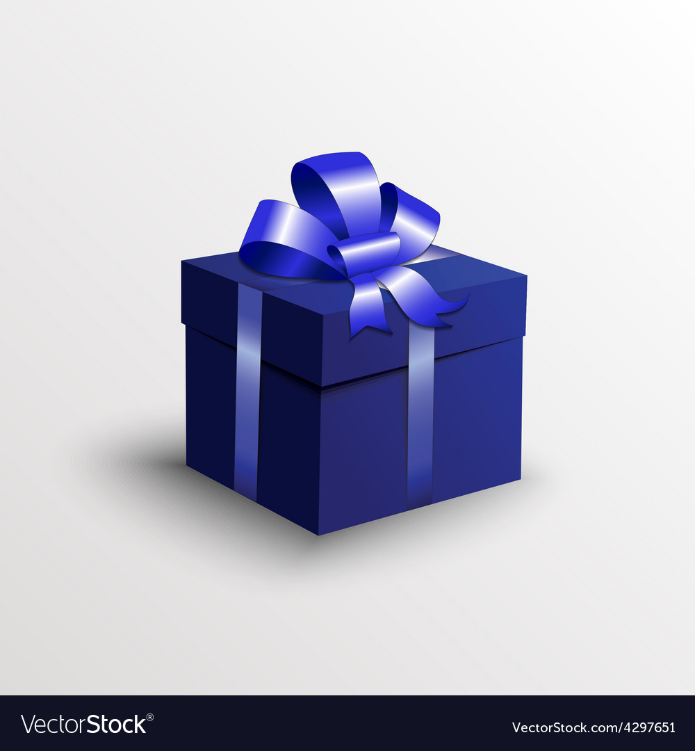 Abstract gift box with blue ribbon vector