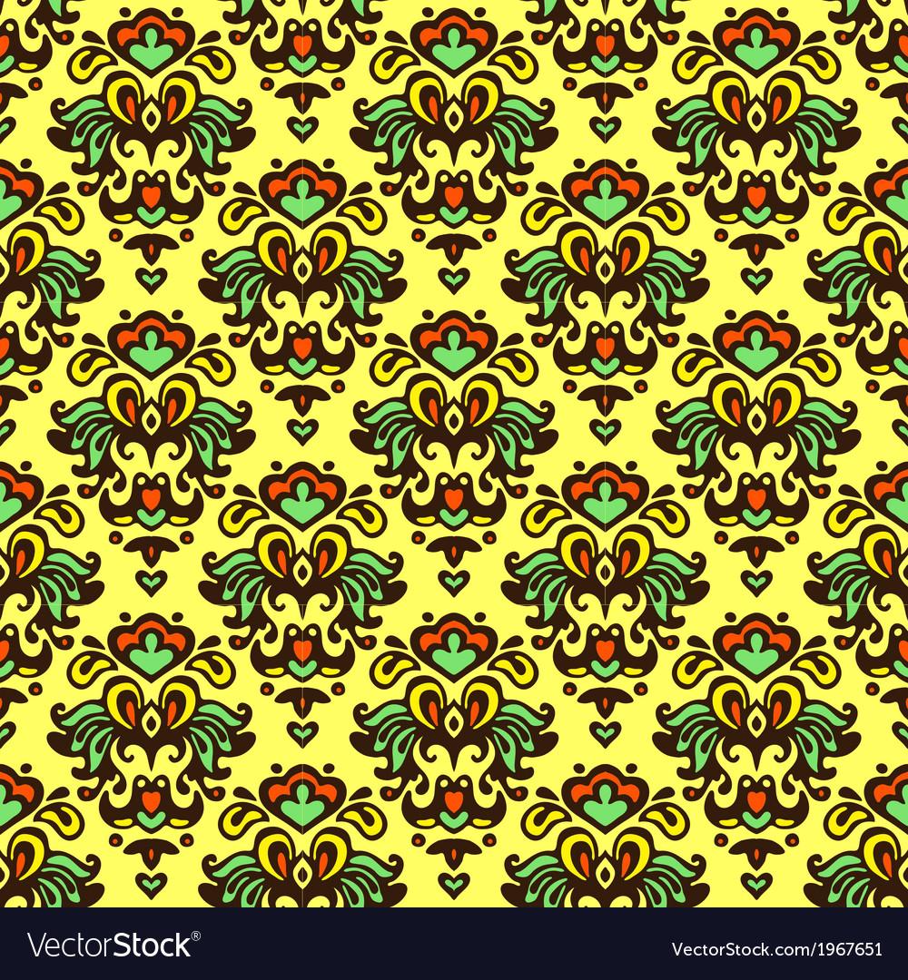 Flower pattern damask summer vector