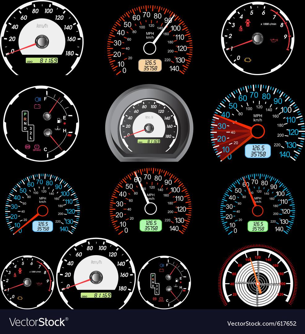 Car speedometers vector
