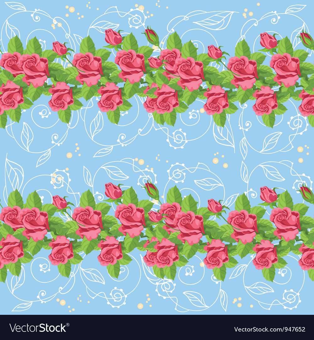 Seamless roses blue vector