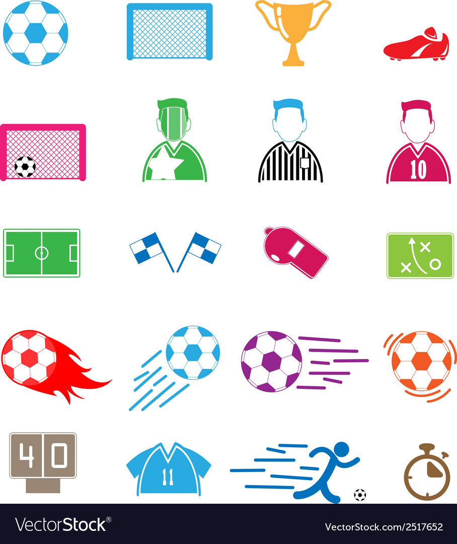 Soccer icons set eps10 vector
