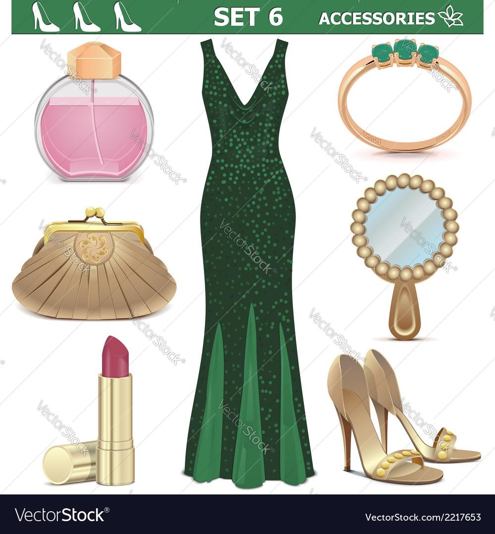 Female accessories set 6 vector