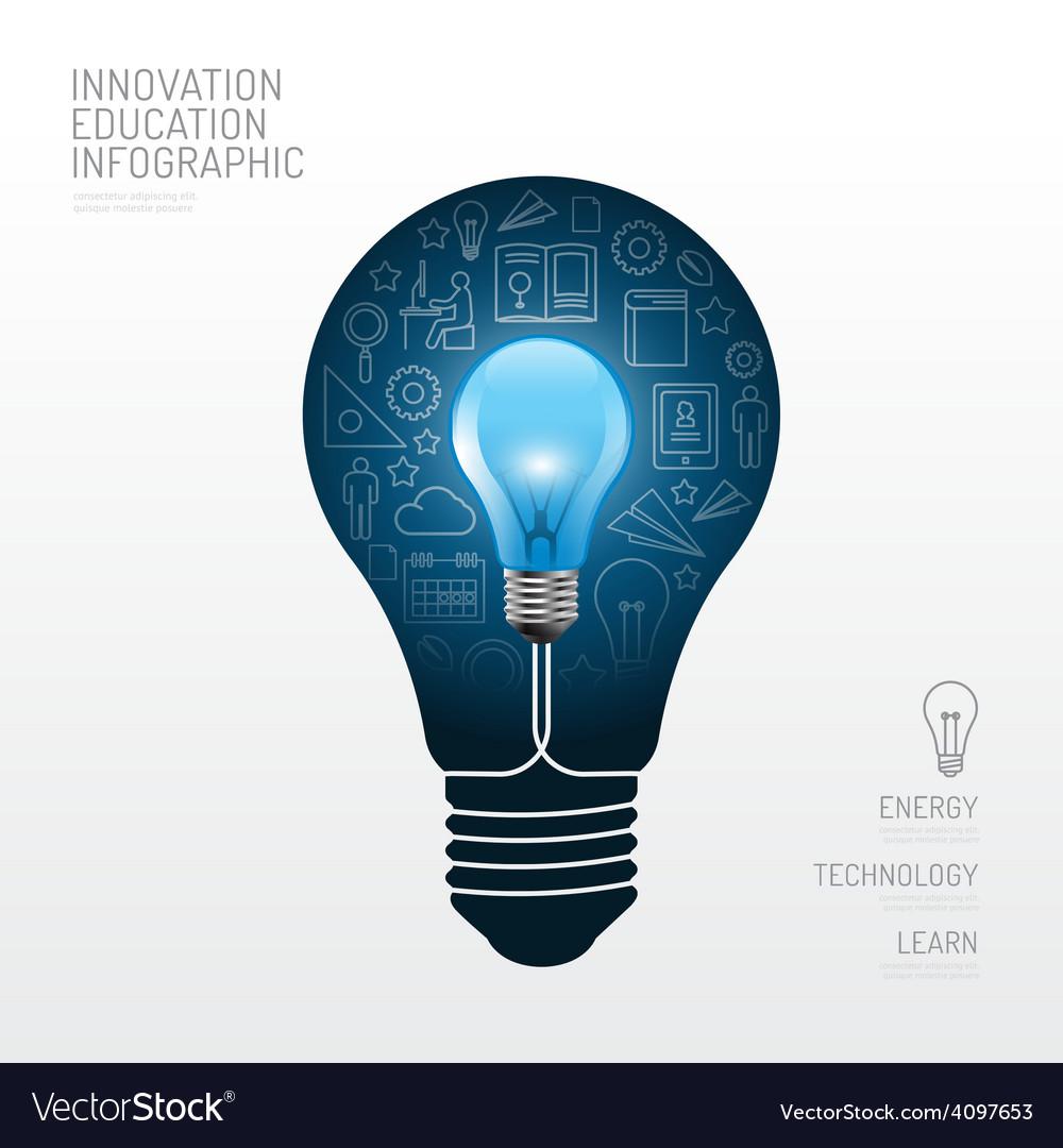 Infographic light bulb flat line idea education vector