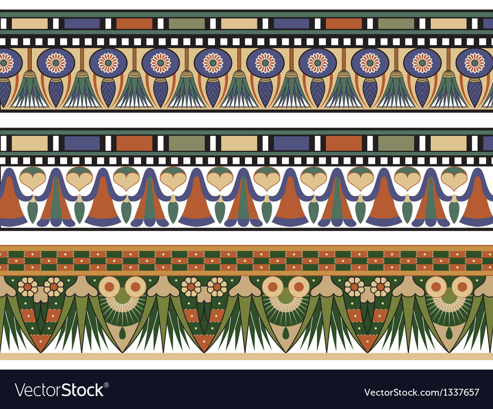 Set of three egyptian border vector