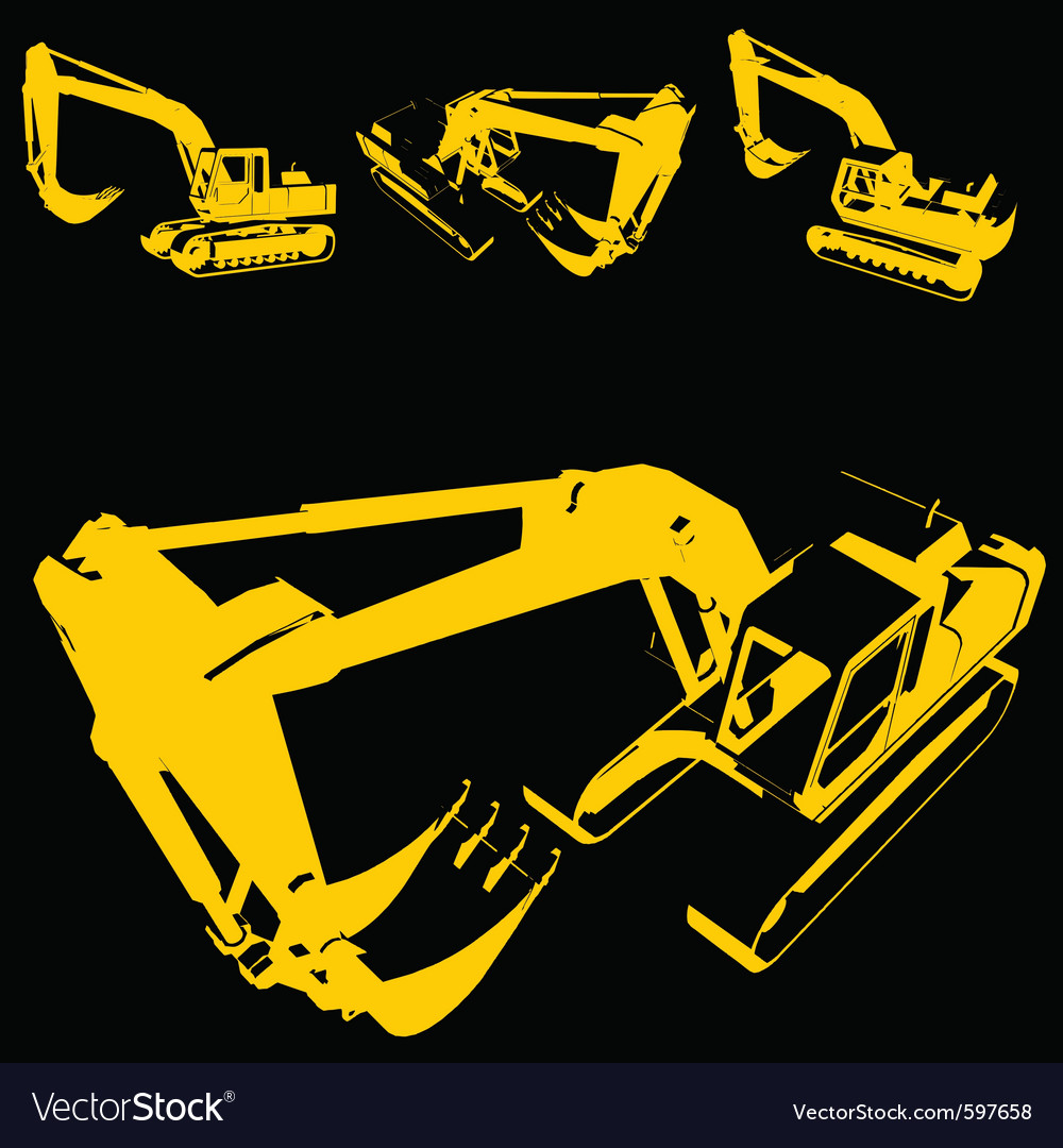 Construction machine silhouette vector