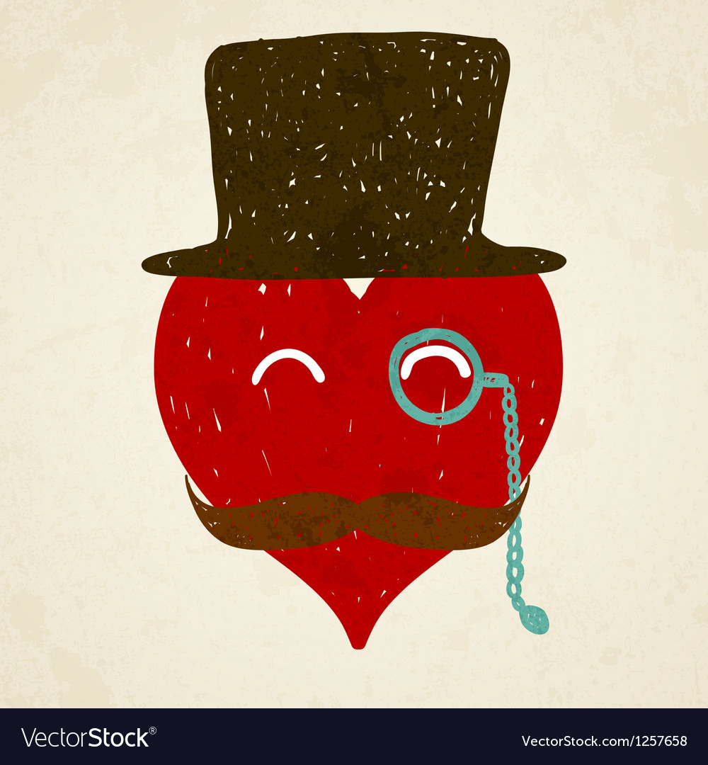 Heart with mustaches vector