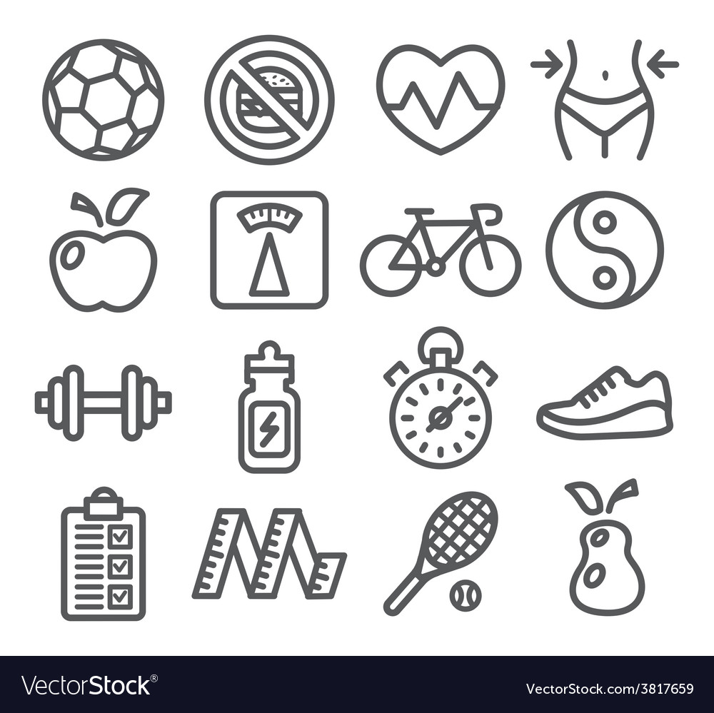 Health and fitness line icons vector