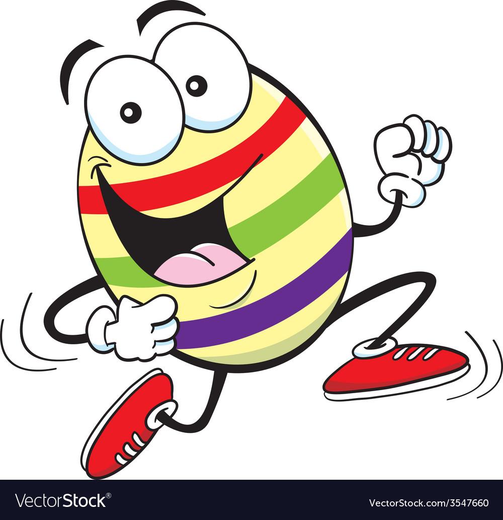 Cartoon easter egg running vector