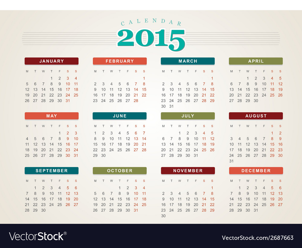 Calendar 2015 design template vector