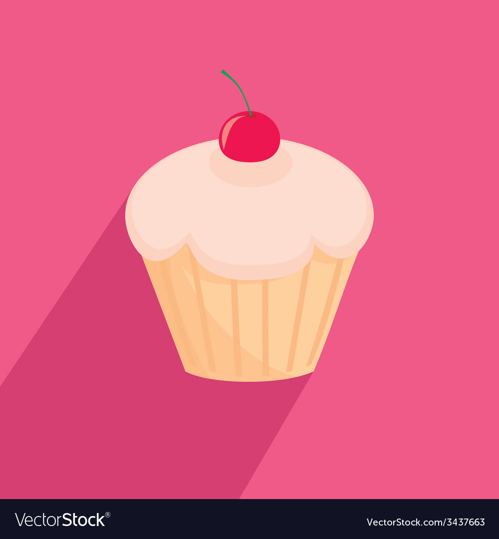 Sweet cherry cupcake flat vector