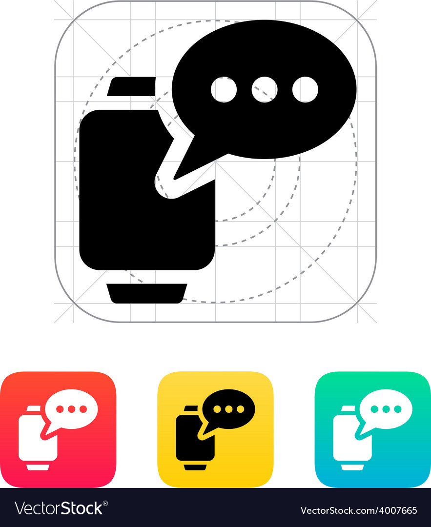 Message on smart watch icon vector