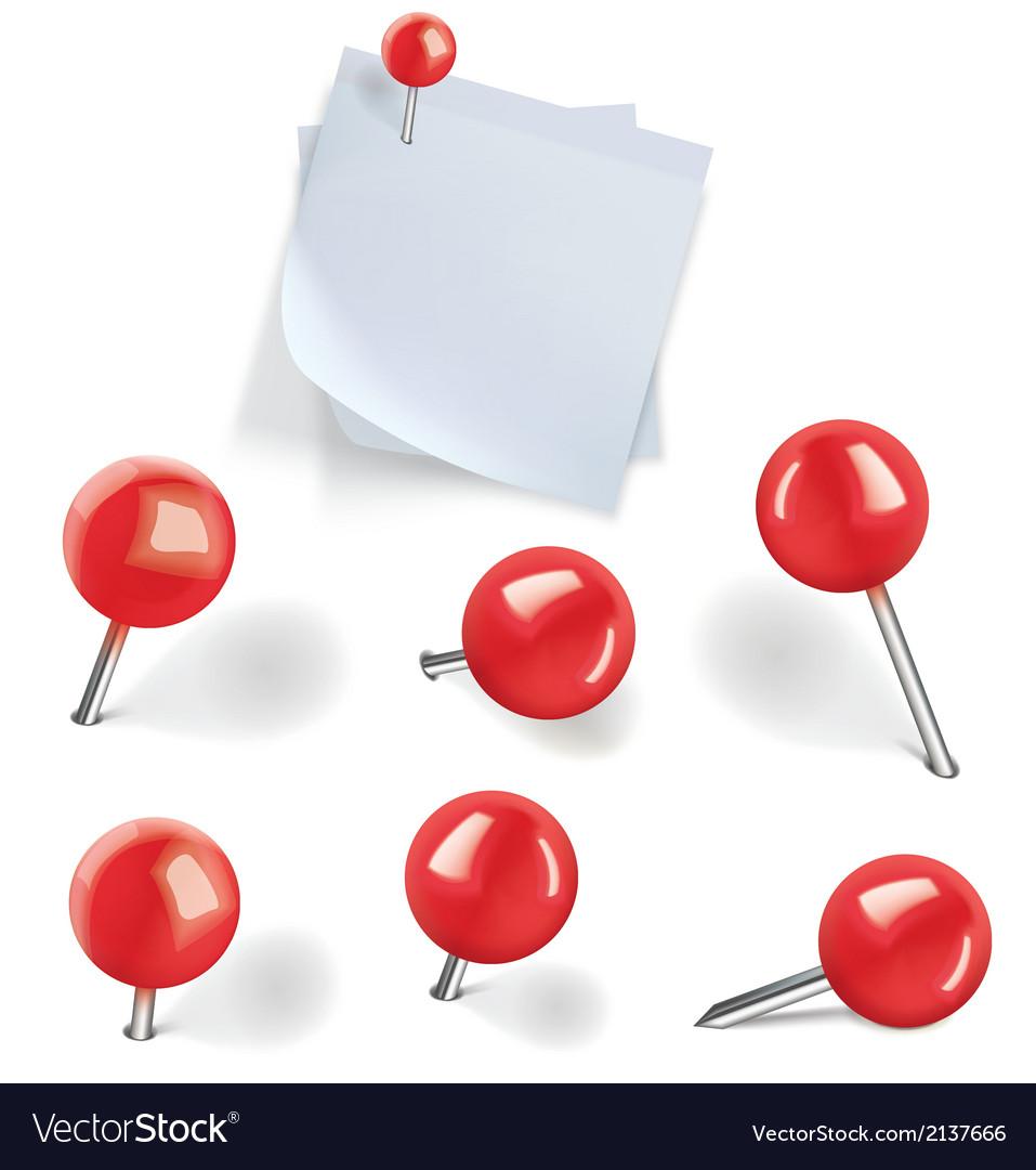 Set of red pushpins vector