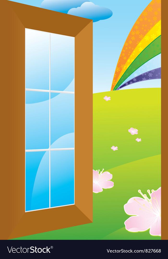 Door to meadow vector