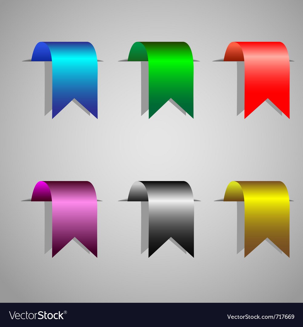 Colorful bookmark ribbons set vector