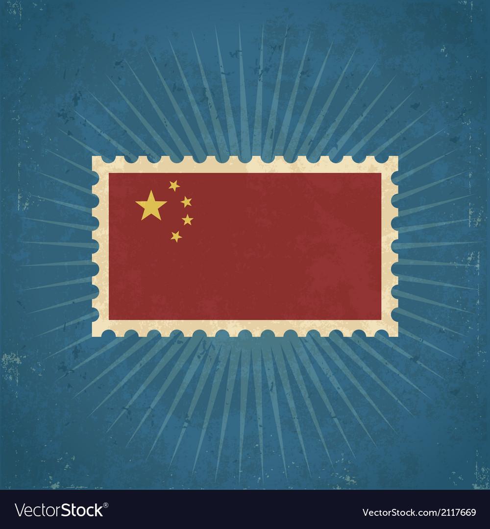 Retro china flag postage stamp vector