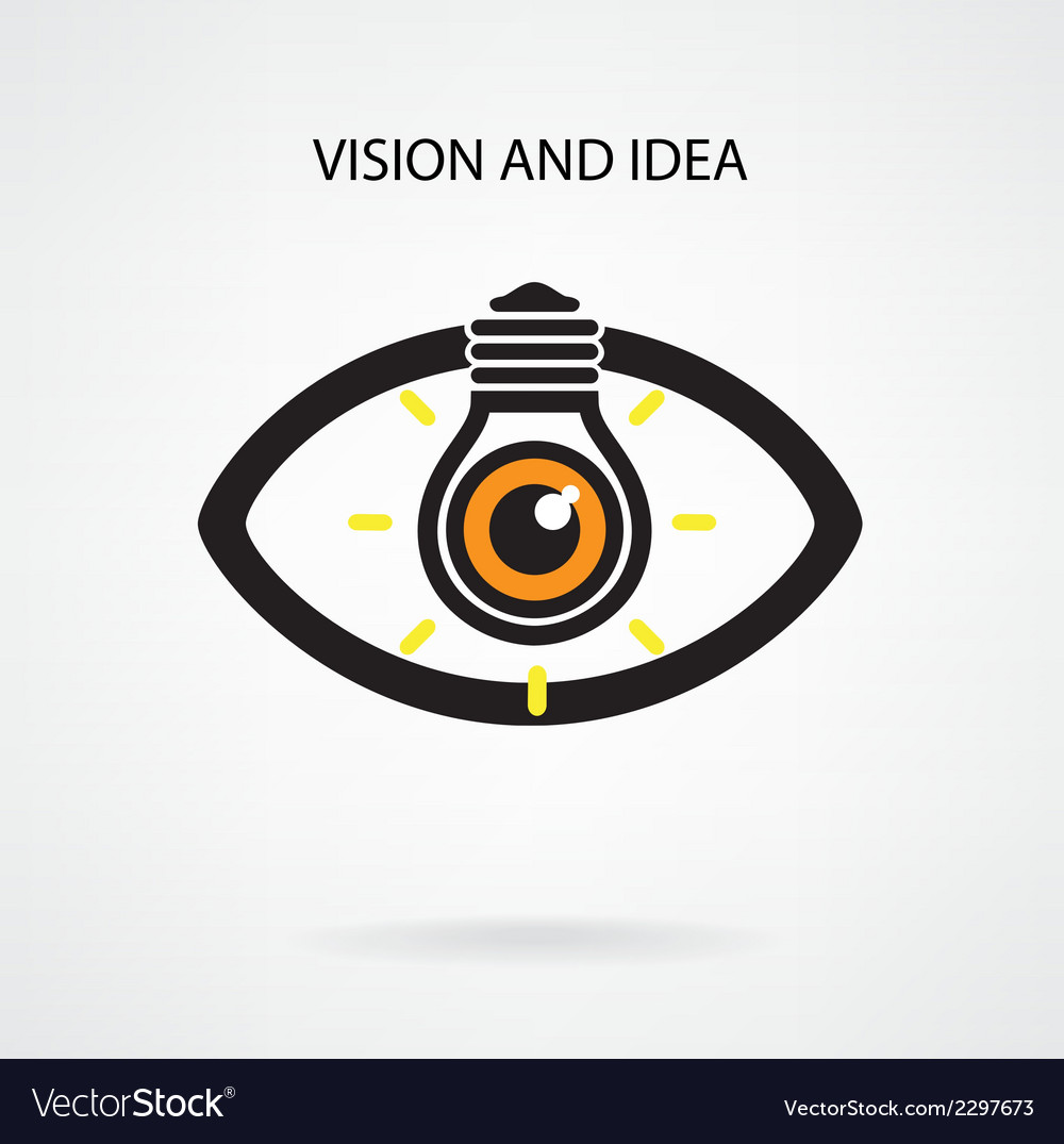 Light bulb and eye symbol vector