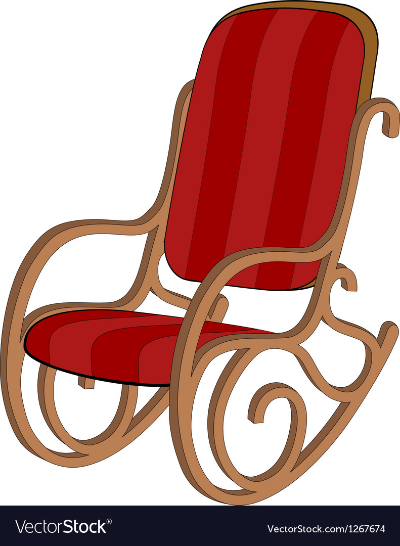 Red wooden rocking chair vector