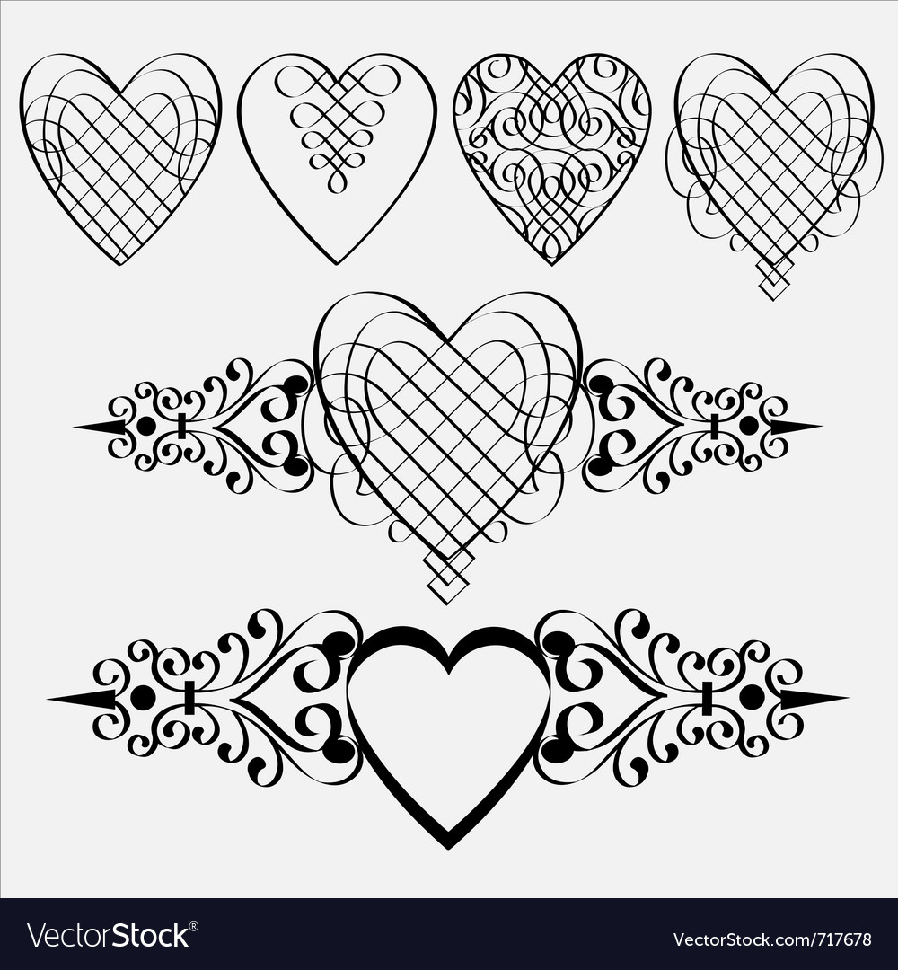 Calligraphic hearts elements vector