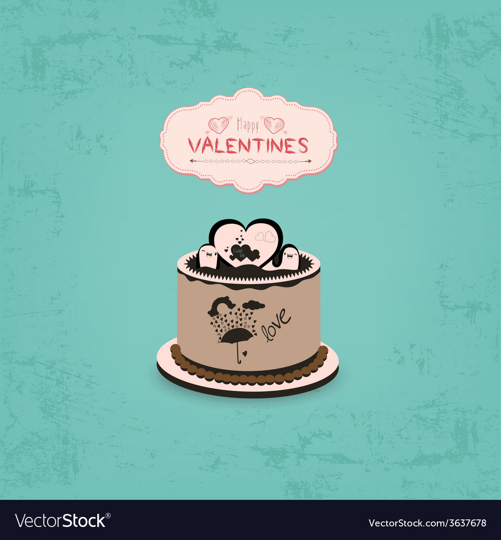 Valentines day with chocolate cupcake vector