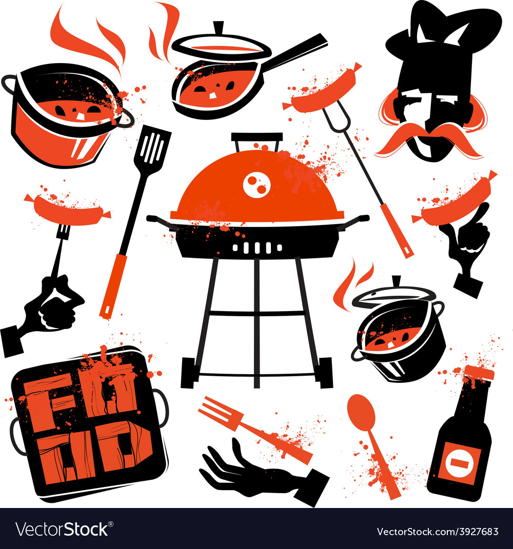 Bbq logo design template cooking or vector