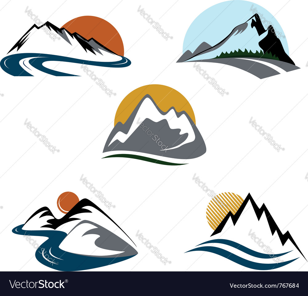 Mountains emblem set vector