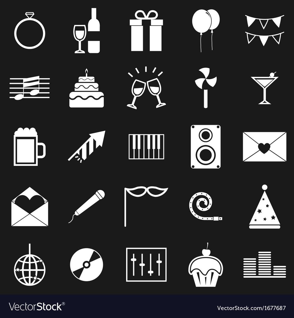 Celebration icons on black background vector
