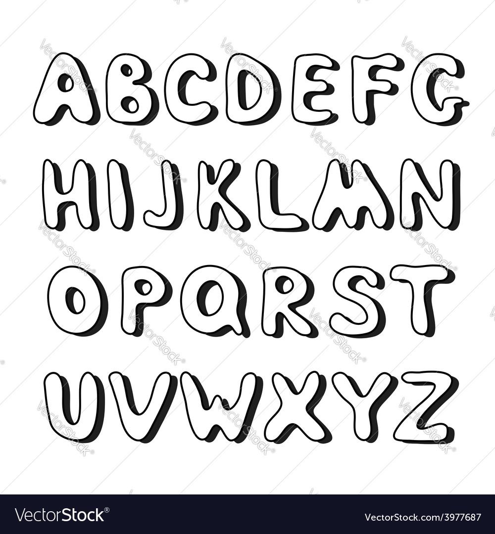 Doodle hand drawn alphabet vector