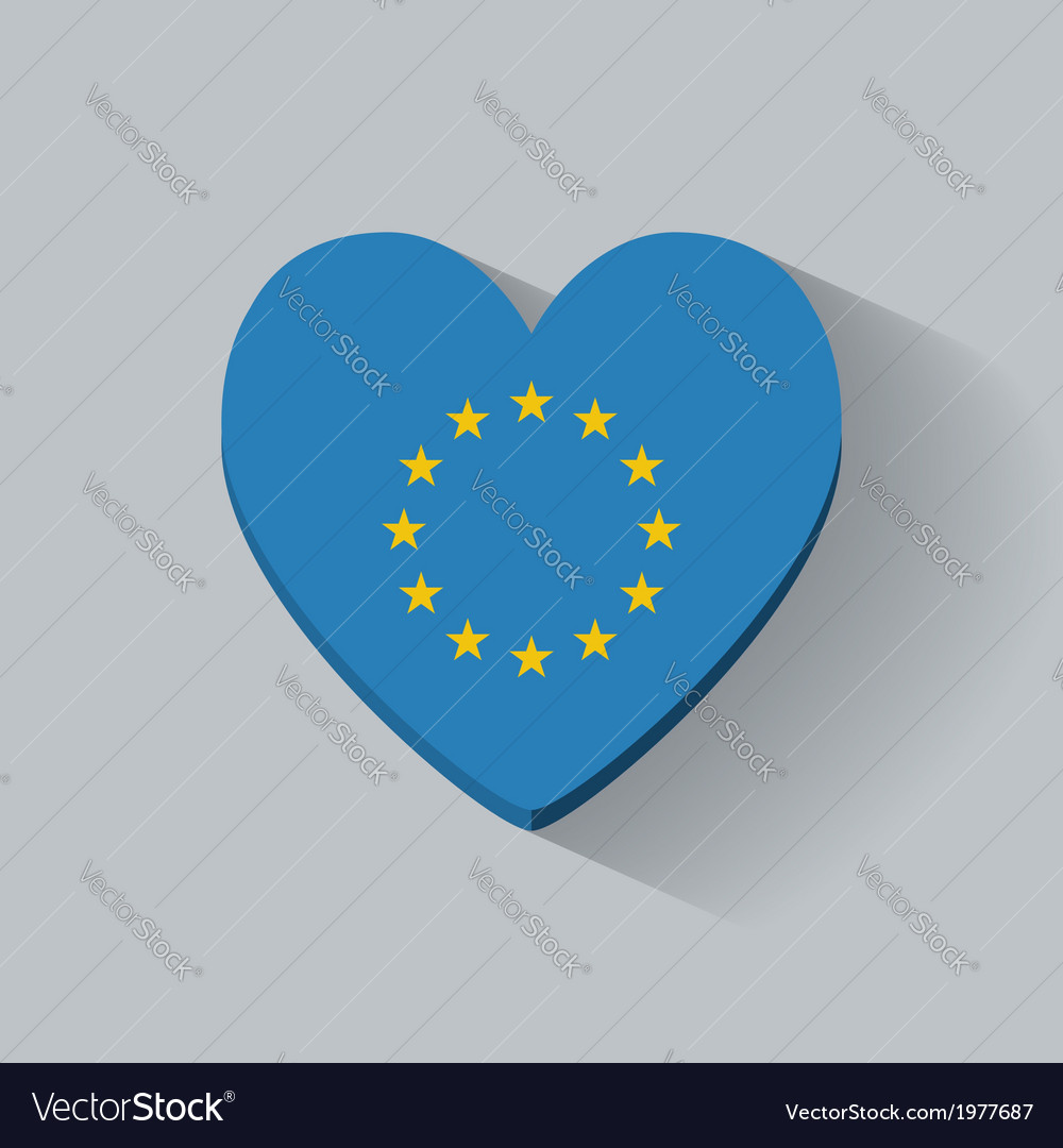 Heart-shaped icon with flag of europe vector