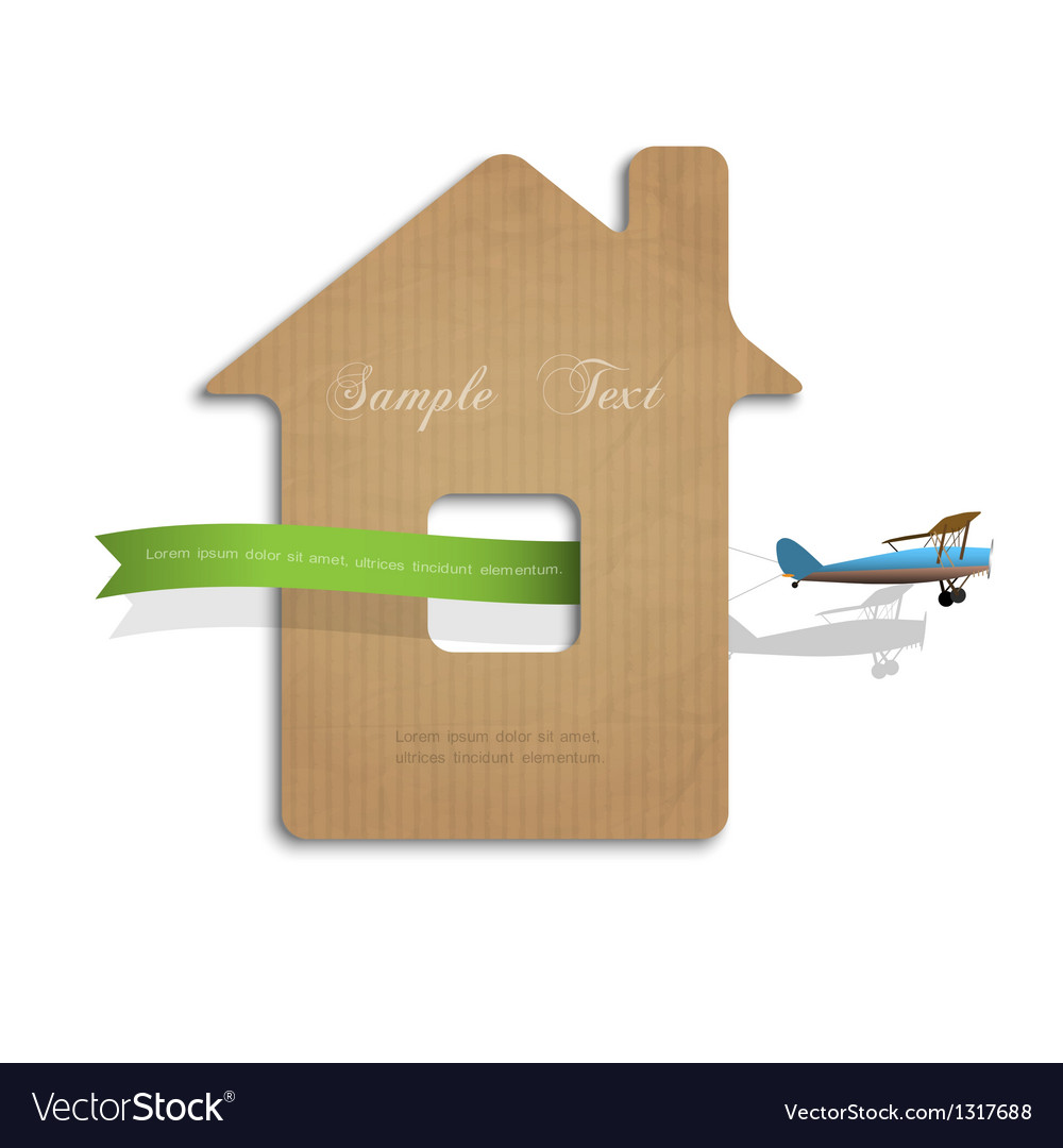 House cut out of cardboard with airplane vector