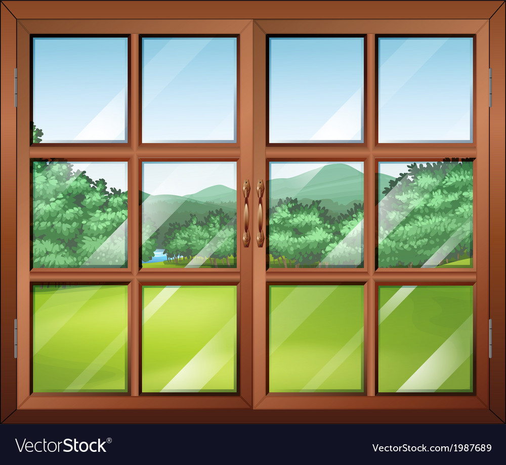 A closed window with a view of the green vector