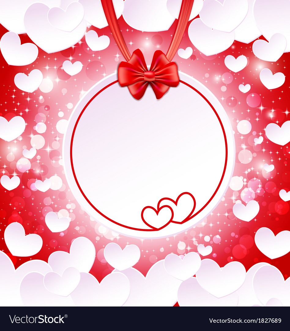 Paper banner with two hearts vector
