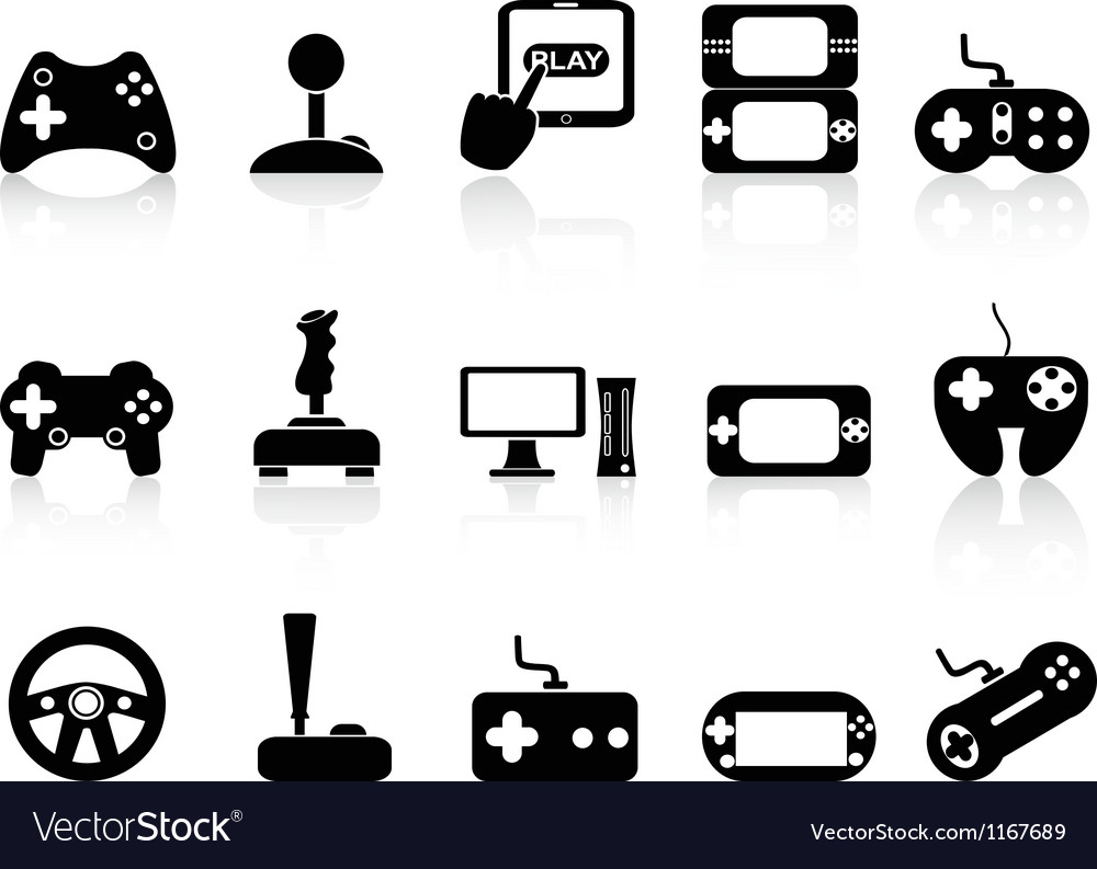Video game and joystick icons set vector