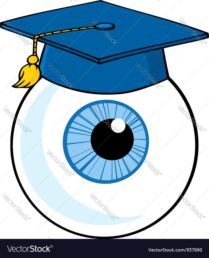 Eye ball cartoon character with graduate cap vector