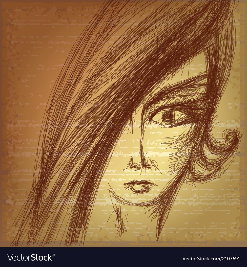 Pencil sketch of young girl vector