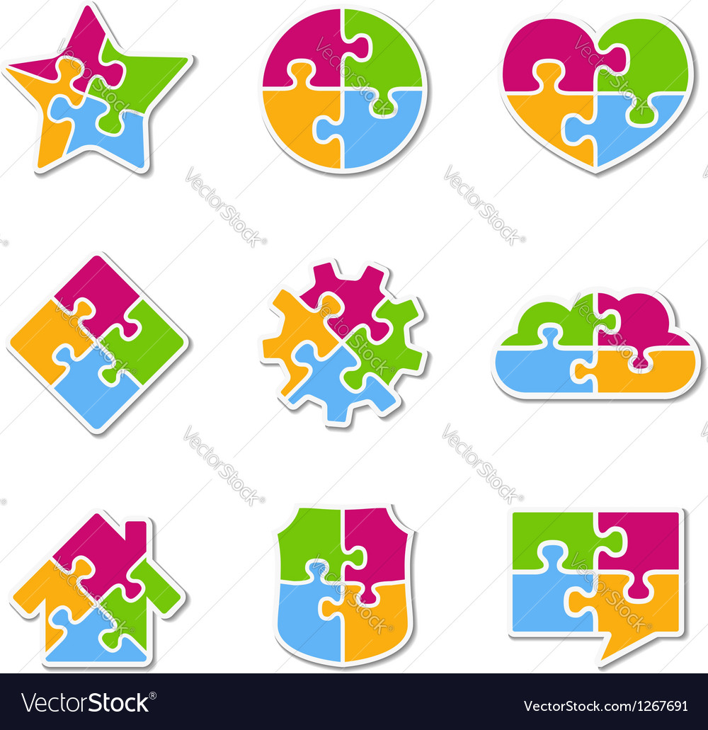 Puzzle icons collection vector