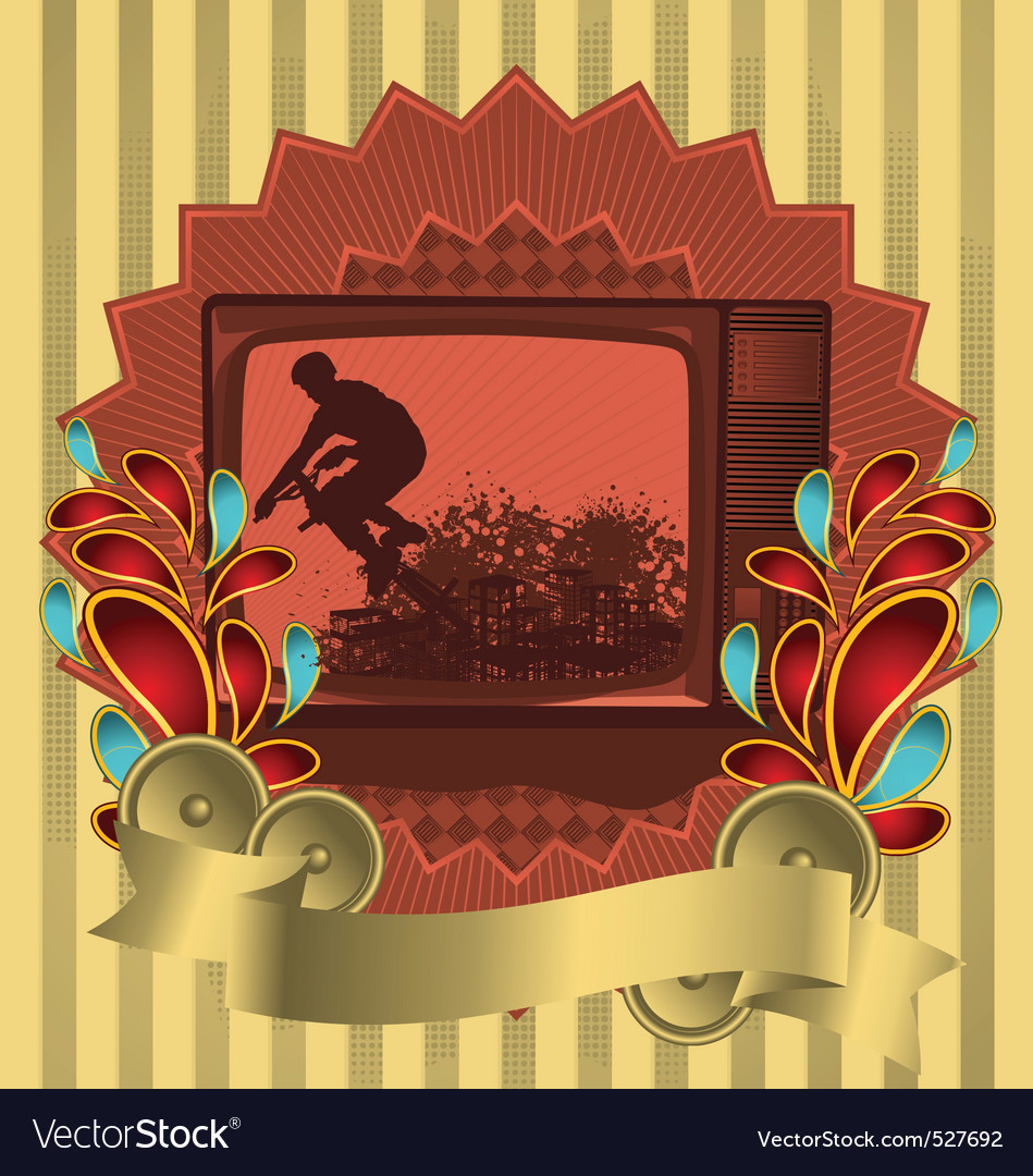 Vintage background design with antique tv vector