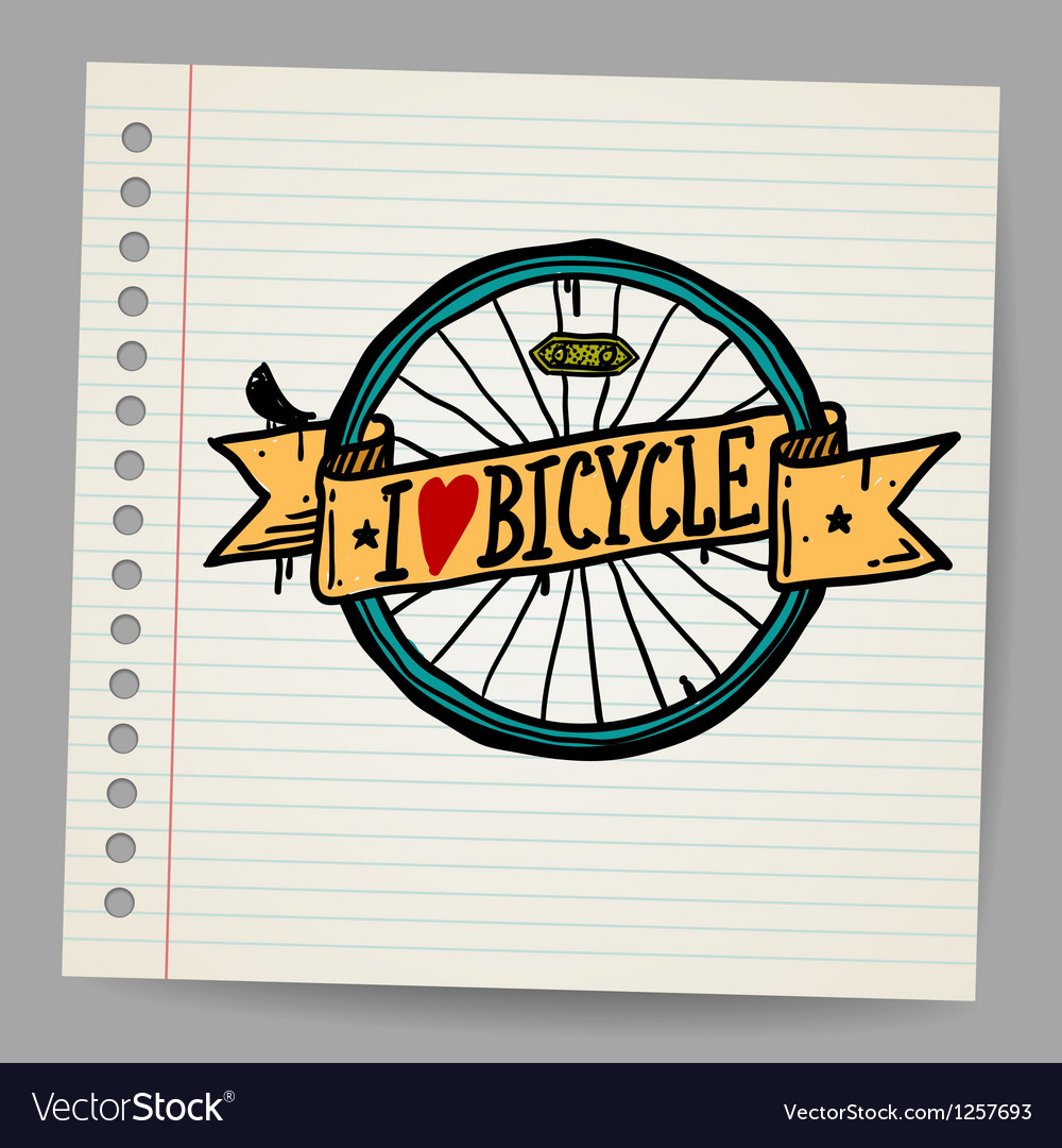 Doodles i love bicycle sign vector