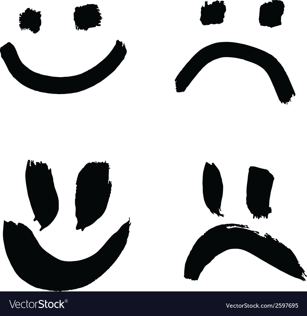 Smiles of joy and sorrow vector