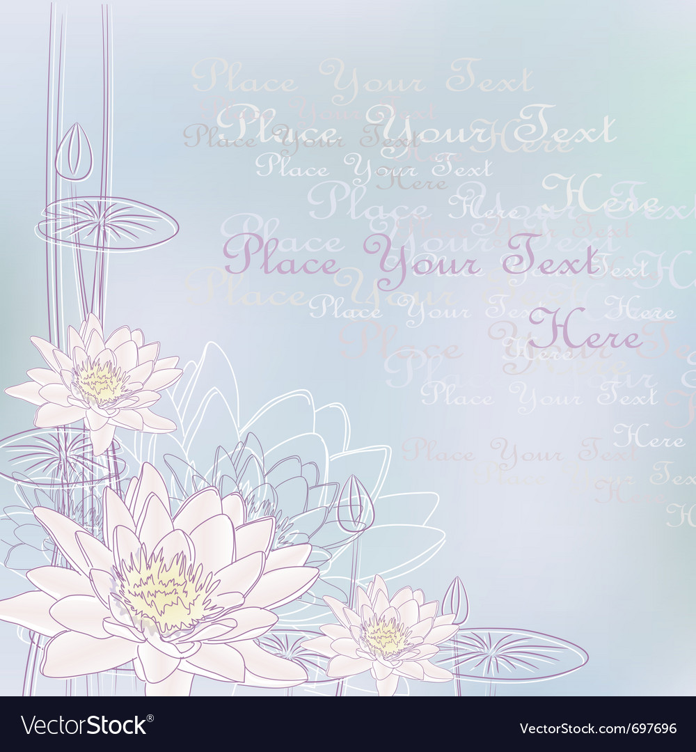 Background with blooming water lilies vector