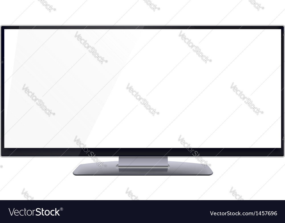 Blank wide computer screen for copy space vector
