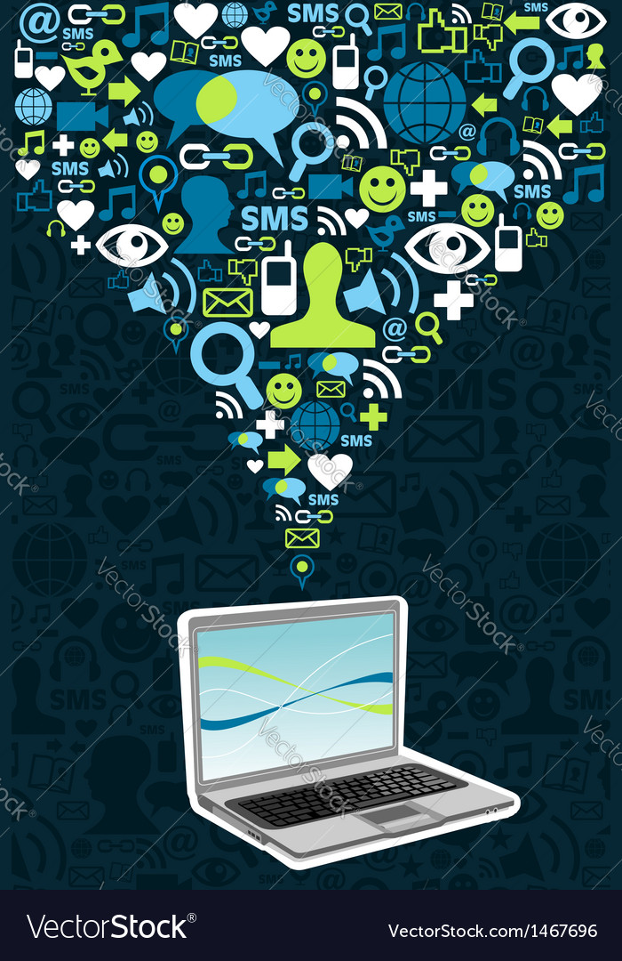 Computer connected social networks vector