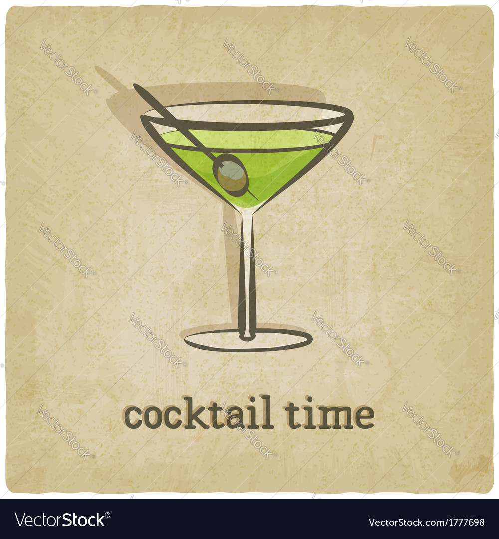 Old background with cocktail vector