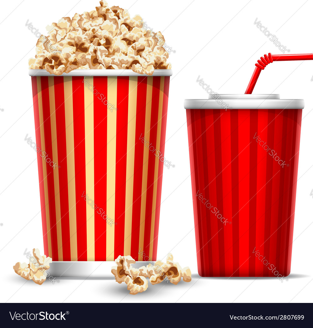 Popcorn and drink vector